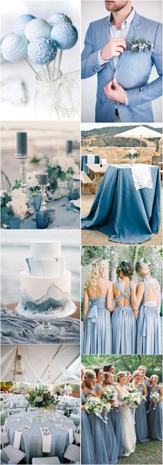 2019 Wedding Inspiration: Dusty Blue Wedding Color Ideas - Home Page Wedding Color Schemes, Wedding Colors, Wedding Flowers, Dream Wedding, Wedding Day, 2017 Wedding, Wedding Table, Trendy Wedding, Wedding Cakes