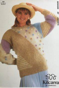Vintage Knitting, Knitting Needles, Vintage Patterns, Mittens, 1980s, Knitting Patterns, Crew Neck, Stripes, Pullover