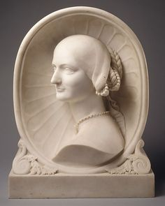 Portrait of a Young Woman, marble sculpture by Henri, Baron de Triqueti, French, c.1850.