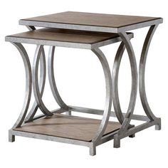 Set of two nesting tables with a wood top and bottom shelf and curved metal base.  Product: Small and large nesting table