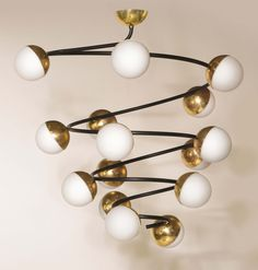Anonymous; Enameled metal, Brass and Glass Ceiling Light by Stilnovo, 1950s.