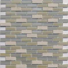Glass and mosaic tile for tub surround
