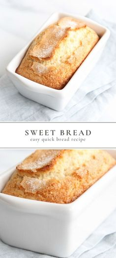 Sweet Bread Recipe Sweet Bread is so incredibly easy to make and only takes 5 minutes hands on time. This easy Sweet Bread recipe requires only staple ingredients: sugar, flour, baking powder, s Breakfast Bread Recipes, Quick Dessert Recipes, Quick Bread Recipes, Sweet Recipes, Baking Recipes, Loaf Recipes, Pain Bagel, Köstliche Desserts, Easter Desserts