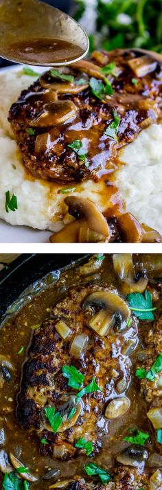 Salisbury Steak with Mushroom Gravy (30 Minute dinner) from The Food Charlatan. Salisbury Steak sounds so fancy but it's SO easy to make. They are basically mini meatloaves fried and served with mushroom gravy. It's the perfect comfort food and only takes 30 minutes to make. You have to serve this with Creamy Mashed Potatoes to get the full effect! #ComfortFood #Easy #30minutes #dinner #oneskillet #beef #groundbeef #mashedpotatoes #gravy #mushrooms #sauce #hamburger #fromscratch