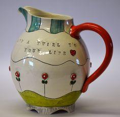 Jug by Lalla Ceramics. Ceramic Pitcher, Ceramic Jars, Ceramic Teapots, Ceramic Clay, Ceramic Painting, Ceramic Pottery, Pottery Art, Play Clay, Wheel Thrown Pottery