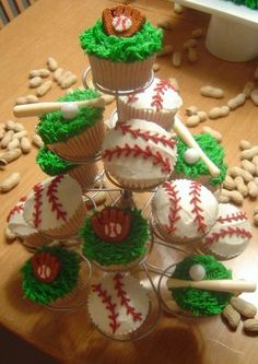 "Baseball Cupcakes for My Son's Baseball Team, Just Because. Or for a weekend Baseball Party watching the ""SF"" GIANTS ((Luv it! Great Idea!))"