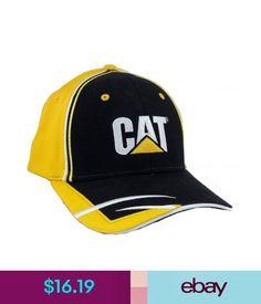 b87ece8b814 Hats Cat Caterpillar Yellow  amp  Black Twill Trademark Logo Hat Cap Ca28   ebay