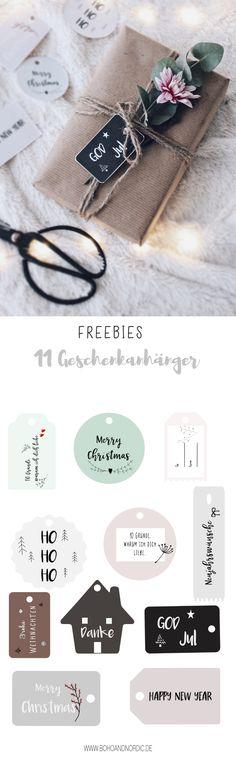 DIY Geschenke verpacken - Freebies schöne Anhänger für Geschenke herunterladen - Free Printable - Weihnachtsgeschenke kreativ verpacken - Geschenkanhänger selber machen.