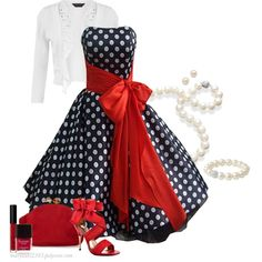 """50's Style Dress"" I was defiantly born in the wrong time. I love polka dots and pearls"