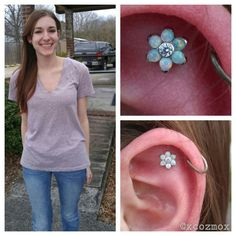 I got to do this flat piercing on my friend Katie today with a opal flower from @anatometal