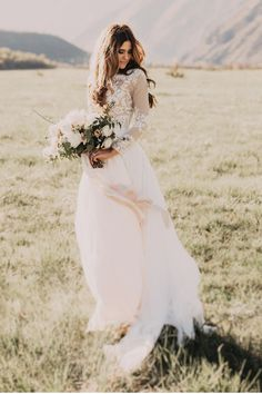 belle manches longues forme princesse mousseline de soie robe de mariée