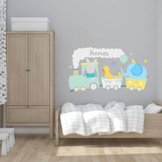 Are you interested in our personalised train wall sticker? With our fabric wall sticker train you need look no further. Nursery Wall Decals, Wall Sticker, Blue Train, Baby Boom, Fabric Textures, Grey Yellow, Painting For Kids, Tulum, Fabric Material