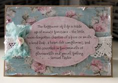 Simple card with quote as focal point. Papers by Maja Design.