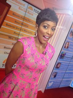 Tamron Hall gives me inspiration with my short hair and I have to mention how much I love her clothes.