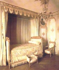 French Period Louis XVI Madame de Maintenon's bedroom at the palace of Fontainbleau, France
