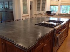 Large custom blackened counter by Focal Metals