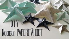 DIY papercrafting video fro Ayerndua /arts & Crafts: One Minute Paper Star Christmas Ornaments Origami Star Paper, 3d Paper Star, Paper Stars, Origami Hearts, Origami Boxes, Origami Ball, Origami Flowers, 3d Star, Star Diy
