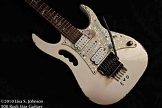 """Steve Vai's Ibanez Guitars Jem – """"Even after countless tours and recordings, Steve's heart still goes pitter-patter at the sight of Evo.""""  See more Evo with your 108rockstarguitars.com/the-book/"""