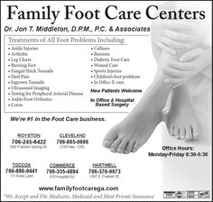 Dr. Jon T. Middleton, D.P.M., P.C. & Associates    Treatments of All Foot Problems Includi... | Family Foot Care Center - Cleveland, GA #georgia #ClevelandGA #shoplocal #localGA