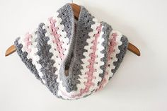 Ready to Ship: Gray Pink and Cream Cowl Scarf Crochet Woman's Granny Stripe Warm Winter