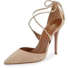 Aquazzura Matilde Crisscross Suede 105mm Pump (£545) ❤ liked on Polyvore featuring shoes, pumps, nude, pointed toe d orsay pumps, nude pumps, nude suede shoes, pointy toe shoes and pointed toe pumps