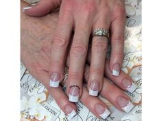 White tips. Nails by Anthony Top Nail, Nail Tech, French Manicures, Polish, Glitter, Nails, Cupcake, Anniversary, Birthday