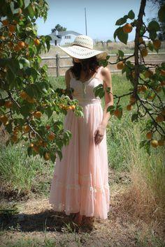 Vintage 1970's Gunne Sax Boho Prairie Corset Front Pink Sun Dress Maxi Dress Size 7 Small. $125.00, via Etsy.