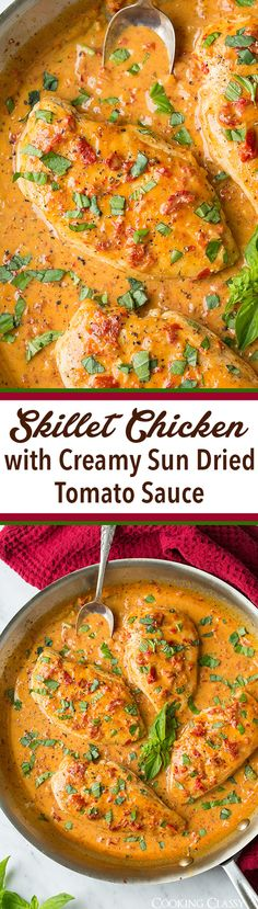 Skillet Chicken with Creamy Sun Dried Tomato Sauce - packed with bright Italian flavors and easy to make!