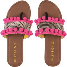 Billabong Women's Tassle Me Sandals ($13) ❤ liked on Polyvore featuring shoes, sandals, accessories, multi, tassel sandals, hot pink sandals, pom pom shoes, slip on shoes and pull on shoes