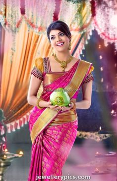 Kajal Agarwal in bridal jewellery silk saree for chennai Silks - Latest Jewellery Designs