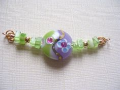 Green and Lavender Swirl Beaded Focal Link for by DeStashParty, $6.00