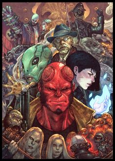 a collaborative project with Hellboy And Team by Arioanindito ! Lineart by Ario Anindito Colors by Bryan Valenza Comic Art, Comic Book Heroes, Amazing Art, Painting, Art, Superhero Art, Hellboy Art, Movie Art, Hero Arts