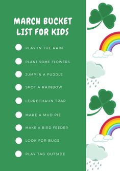 Our printable March bucket list for kids is a great way to kick off spring with fun rainy day activities, sunny day activities, St. Patrick's Day ideas, and more! #bucketlist #spring #march #funforkids