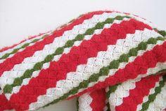 Vintage Afghan Stripe Crochet Christmas Holiday Blanket. $35.00, via Etsy.