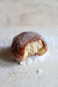 Salted Caramel Brioche Doughnuts - Soft pillowy Brioche Doughnuts filled with Salted Caramel Pastry Cream folded with softly whipped Cream. Just Desserts, Delicious Desserts, Dessert Recipes, Yummy Food, Brioche Donuts, Doughnuts, Baked Donuts, Think Food, Love Food