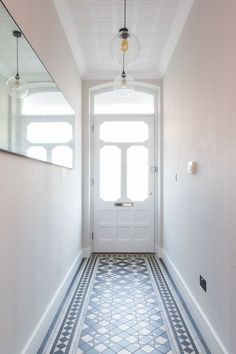 hallway, victorian tiles, victorian hallway tiles, antique mirror, pendant light… - All For Decoration Kitchen Lighting Fixtures Ceiling, Hallway Tiles Floor, Victorian Hallway, Hallway Lighting, House Interior, Hall Tiles, Hallway Designs, Wallpaper Ceiling, Victorian Tiles