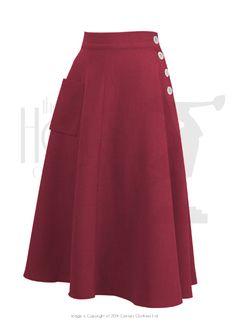 40s Whirlaway Skirt - Red