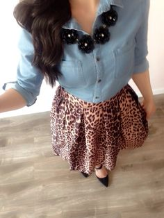 Modest Outfit!! Leopard Midi Skirt + Chambray