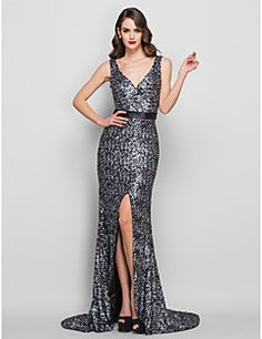 Trumpet/Mermaid  V-neck   Sweep/Brush Train Sequined  Evening Dress
