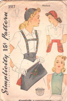 Simplicity 3917 1940s  Misses Accessories Pattern Calot Hat Bag Dickey Suspenders Girdle Belt Pattern  Womens Vintage Sewing Pattern Medium