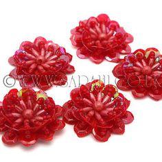 PACK OF 5 BEADED SEQUIN FLOWER MOTIFS, APPLIQUE,MOTIF, edging,trim,sequins,beads £3.99