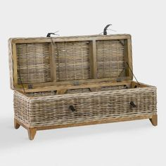 With a lift-off lid, this rustic piece is a coffee table and storage basket in one. Grey Wood Coffee Table, Wicker Coffee Table, Wicker Trunk, Coffee Table With Storage, Coffee Tables, Thing 1, Kiln Dried Wood, Rattan Basket, Storage Baskets
