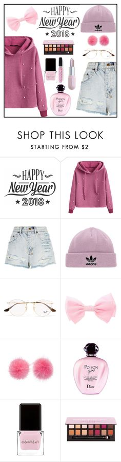 """""""happy new year"""" by amirael ❤ liked on Polyvore featuring Cricut, Ksubi, adidas Originals, Ray-Ban, Wild & Woolly, Christian Dior, Context, Mermaid Salon and Winky Lux"""