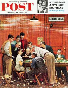 """1959-02-14: """"Jury"""" or """"Holdout"""" (Norman Rockwell) The gentleman leaning down behind the woman and attempting to be persuasive is Rockwell."""