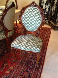Fronts Of Dining Room Chairs. Antique Rococo Chairs, Italian Velvet  Upholstery Fabric.
