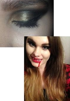 Halloween 2013 as a vampire! Age 14. This was a very rushed look because I didn't have long as I met Conor Maynard that day! The eyeshadow picture I took at the end of the night and I wanted a dramatic look! I also put black eyeliner on the outer corner of my mouth to look like dried up blood. And I contoured with a grey eyeshadow for a more dead look and didn't add any blush.