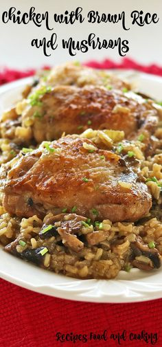 Chicken Thighs with Brown Rice, onion, celery and mushrooms. Vegetable Stew, Vegetable Dishes, Vegetable Recipes, Chicken Recipes, Chicken Meals, Cooking Dishes, Cooking Bacon, Cooking Recipes, Cooking Wine