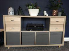 Ikea Kallax Boxes, Kallax Shelf, Kallax Hack, Kitchen Living, Living Room, Cube Shelves, Study Office, New Room, Playroom