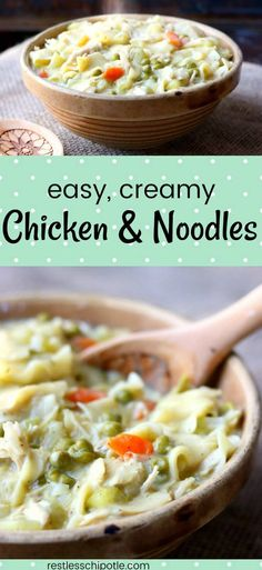There's nothing that says comfort food in big, flashing, neon letters better than this easy chicken and noodles recipe! This chicken noodle casserole can be finished in the oven with a crispy topping or on top of the stove for old fashioned, creamy chicken and noodles goodness.  from restlesschipotle.com #chickenandnoodles #chickencasseroles #easychickenrecipes via @Marye at Restless Chipotle