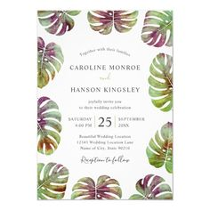 Elegant Tropical Modern Floral Watercolor Wedding Invitations Template. Feature beautiful tropical greenery - Monstera leaves, green with a touch of purple. Great for inviting your guests to your wedding celebration. Great for all wedding parties, garden, tropical, beach, destination, Hawaii, Florida, summer etc. Birthday Invitation Templates, Invitation Set, Invites, Watercolor Wedding Invitations, Elegant Wedding Invitations, Wedding Stationary, Watercolor Leaves, Floral Watercolor, Wedding Dj
